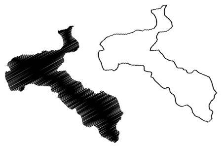 San Jose Province (Republic of Costa Rica, Administrative divisions of Costa Rica) map vector illustration, scribble sketch San Jose map Ilustração