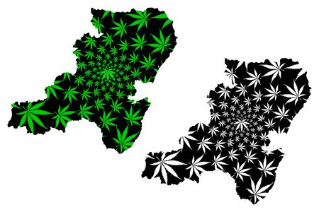 Aberdeenshire (United Kingdom, Scotland, Local government in Scotland) map is designed cannabis leaf green and black, Aberdeenshire map made of marijuana (marihuana,THC) foliage