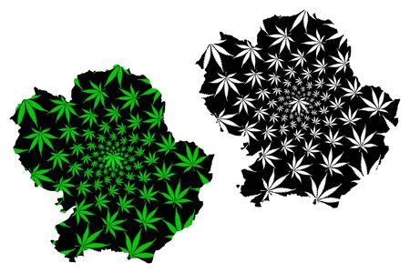 Angus (United Kingdom, Scotland, Local government in Scotland) map is designed cannabis leaf green and black, Forfarshire map made of marijuana (marihuana,THC) foliage