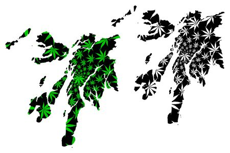 Argyll and Bute (United Kingdom, Scotland, Local government in Scotland) map is designed cannabis leaf green and black, Argyll and Bute map made of marijuana (marihuana,THC) foliage
