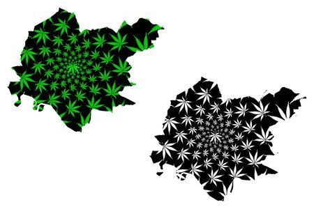 Clackmannanshire (United Kingdom, Scotland, Local government) map is designed cannabis leaf green and black, scribble sketch Clackmannanshire (Clacks.) made of marijuana (marihuana,THC) foliage Stock Illustratie