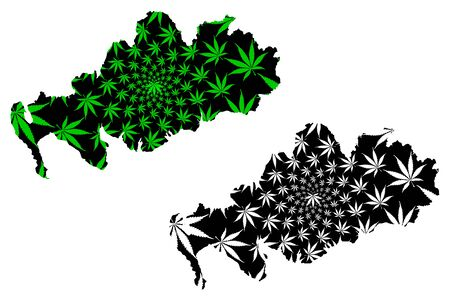 Dumfries and Galloway (United Kingdom, Scotland, Local government in Scotland) map is designed cannabis leaf green and black, Dumfries and Galloway map made of marijuana (marihuana,THC) foliage Stock Illustratie