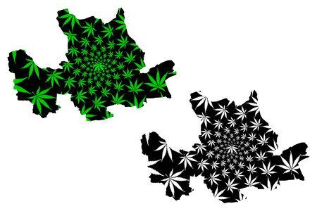 East Dunbartonshire (United Kingdom, Scotland, Local government in Scotland) map is designed cannabis leaf green and black, East Dunbartonshire map made of marijuana (marihuana,THC) foliage Stock Illustratie