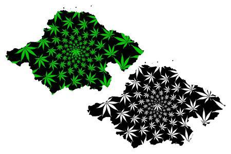 East Lothian (United Kingdom, Scotland, Local government in Scotland) map is designed cannabis leaf green and black, Kingdom of Fife map made of marijuana (marihuana,THC) foliage Stock Illustratie