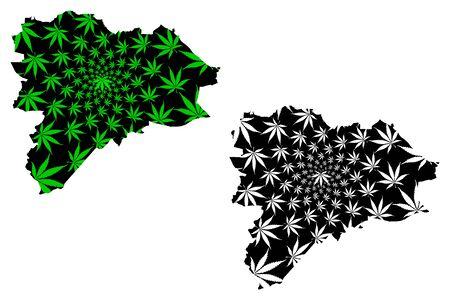 Edinburgh (United Kingdom, Scotland, Local government in Scotland) map is designed cannabis leaf green and black, City and council area Edinburgh map made of marijuana (marihuana,THC) foliage Stock Illustratie