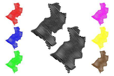 Leon Department (Republic of Nicaragua, Departments of Nicaragua) map vector illustration, scribble sketch León (NI-LE) map