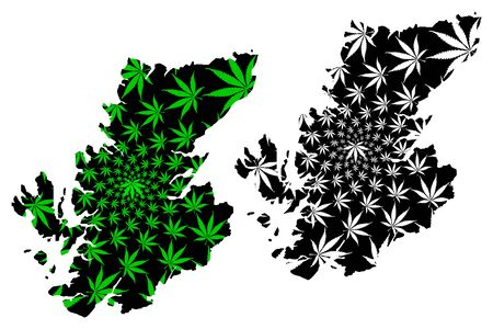 Highland (United Kingdom, Local government in Scotland) map is designed cannabis leaf green and black, Scottish Highlands, inner-Hebridean, council area made of marijuana (marihuana,THC) foliage