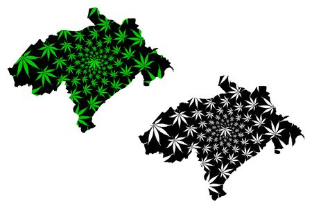 Midlothian (United Kingdom, Local government in Scotland) map is designed cannabis leaf green and black, Edinburghshire (County of Edinburgh) map made of marijuana (marihuana,THC) foliage