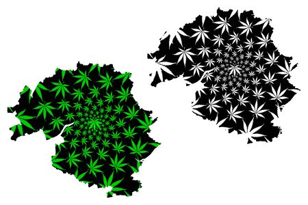 Perth and Kinross (United Kingdom, Scotland, Local government in Scotland) map is designed cannabis leaf green and black, Perth and Kinross map made of marijuana (marihuana,THC) foliage Illustration
