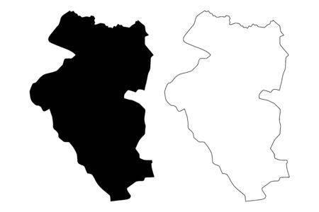 Bulgan Province (aimags, Provinces of Mongolia) map vector illustration, scribble sketch Bulgan Aimag map Illusztráció