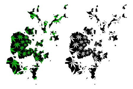 Orkney Islands (United Kingdom, Scotland, Local government in Scotland) map is designed cannabis leaf green and black, Orkney (Northern Isles) map made of marijuana (marihuana,THC) foliage 向量圖像