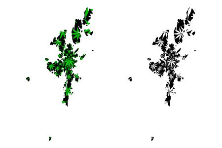 Shetland Islands (United Kingdom, Scotland, Local government in Scotland) map is designed cannabis leaf green and black, Zetland (Northern Isles) map made of marijuana (marihuana,THC) foliage