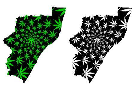 KwaZulu-Natal Province (Republic of South Africa, RSA) map is designed cannabis leaf green and black, KwaZulu-Natal (Zulu Kingdom, KZN) map made of marijuana (marihuana,THC) foliage