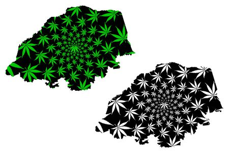 Limpopo Province (Republic of South Africa, RSA) map is designed cannabis leaf green and black, Northern Transvaal (Northern Province) map made of marijuana (marihuana,THC) foliage 일러스트