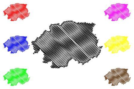 Banska Bystrica Region (Regions of Slovakia, Slovak Republic) map vector illustration, scribble sketch Banska Bystrica map