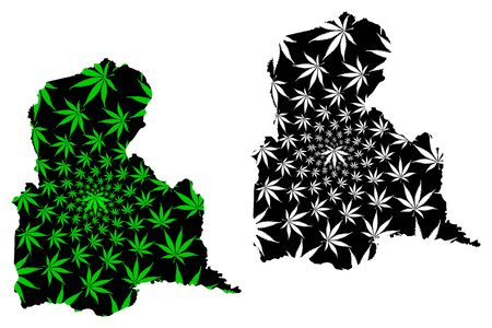 Tachira State (Bolivarian Republic of Venezuela, Federal Dependencies and Capital District) map is designed cannabis leaf green and black, Tachira map made of marijuana (marihuana,THC) foliage  イラスト・ベクター素材