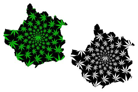 Trujillo State (Bolivarian Republic of Venezuela, Federal Dependencies and Capital District) map is designed cannabis leaf green and black, Trujillo map made of marijuana (marihuana,THC) foliage