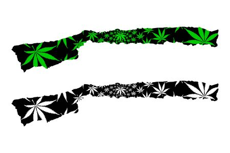 Vargas State (Bolivarian Republic of Venezuela, States, Federal Dependencies and Capital District) map is designed cannabis leaf green and black, Vargas map made of marijuana (marihuana,THC) foliage 写真素材 - 134227783