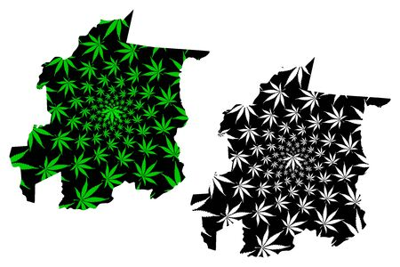 Yaracuy State (Bolivarian Republic of Venezuela, Federal Dependencies and Capital District) map is designed cannabis leaf green and black, Yaracuy map made of marijuana (marihuana,THC) foliage