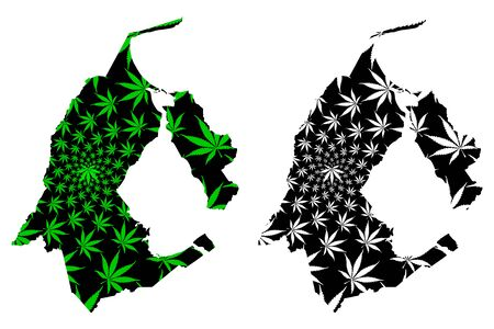 Zulia State (Bolivarian Republic of Venezuela, States, Federal Dependencies and Capital District) map is designed cannabis leaf green and black, Zulia map made of marijuana (marihuana,THC) foliage  イラスト・ベクター素材