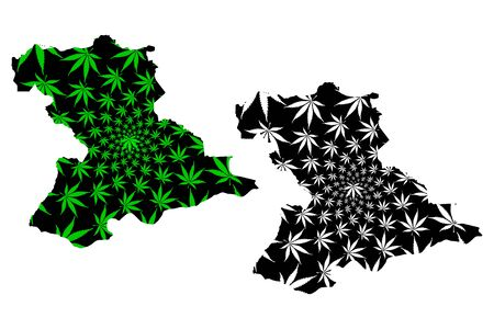 Anzoategui State (Bolivarian Republic of Venezuela, Federal Dependencies, Capital District) map is designed cannabis leaf green and black, Anzoategui map made of marijuana (marihuana,THC) foliage  イラスト・ベクター素材