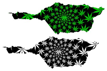 Apure State (Bolivarian Republic of Venezuela, States, Federal Dependencies and Capital District) map is designed cannabis leaf green and black, Apure map made of marijuana (marihuana,THC) foliage