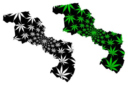 Aragua State (Bolivarian Republic of Venezuela, Federal Dependencies and Capital District) map is designed cannabis leaf green and black, Aragua map made of marijuana (marihuana,THC) foliage