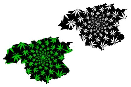 Bolivar State (Bolivarian Republic of Venezuela, Federal Dependencies and Capital District) map is designed cannabis leaf green and black, Bolivar map made of marijuana (marihuana,THC) foliage