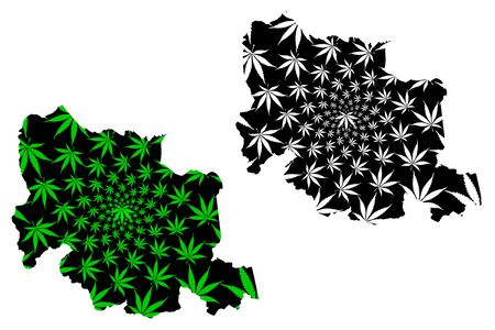Carabobo State (Bolivarian Republic of Venezuela, Federal Dependencies and Capital District) map is designed cannabis leaf green and black, Carabobo map made of marijuana (marihuana,THC) foliage