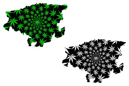 Lara State (Bolivarian Republic of Venezuela, States, Federal Dependencies and Capital District) map is designed cannabis leaf green and black, Lara map made of marijuana (marihuana,THC) foliage