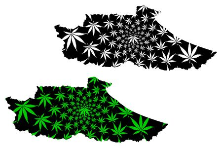 Miranda State (Bolivarian Republic of Venezuela, Federal Dependencies and Capital District) map is designed cannabis leaf green and black, Miranda map made of marijuana (marihuana,THC) foliage