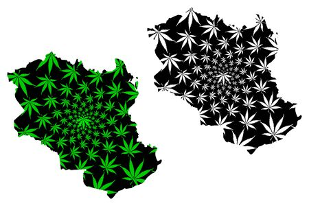 Monagas State (Bolivarian Republic of Venezuela, Federal Dependencies and Capital District)map is designed cannabis leaf green and black, Monagas map made of marijuana (marihuana,THC) foliage  イラスト・ベクター素材