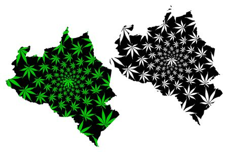 Portuguesa State (Bolivarian Republic of Venezuela, Federal Dependencies, Capital District) map is designed cannabis leaf green and black, Portuguesa map made of marijuana (marihuana,THC) foliage