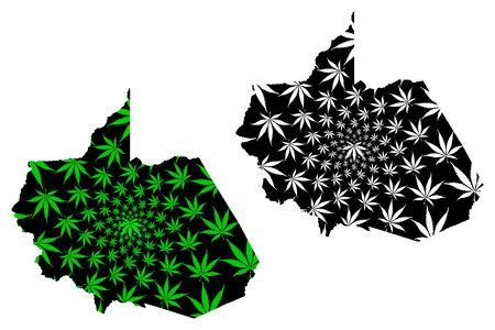 Department of Madre de Dios (Republic of Peru, Regions of Peru) map is designed cannabis leaf green and black, Madre de Dios map made of marijuana (marihuana,THC) foliage Illustration