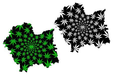 Lesser Poland Voivodeship (Voivodeships of Poland) map is designed cannabis leaf green and black, Lesser Poland Province map made of marijuana (marihuana,THC) foliage Иллюстрация