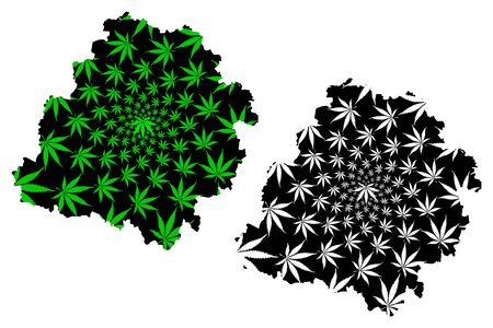 Lodz Voivodeship (Administrative divisions of Poland, Voivodeships of Poland) map is designed cannabis leaf green and black, Lodz Province map made of marijuana (marihuana,THC) foliage