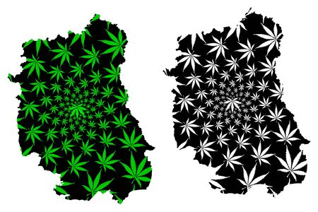 Lublin Voivodeship (Administrative divisions of Poland, Voivodeships of Poland) map is designed cannabis leaf green and black, Lublin Province map made of marijuana (marihuana,THC) foliage