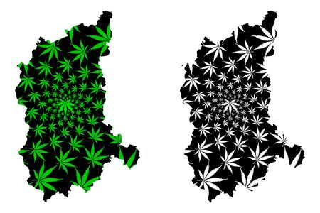 Lubusz Voivodeship (Administrative divisions of Poland, Voivodeships of Poland) map is designed cannabis leaf green and black, Lubusz Province map made of marijuana (marihuana,THC) foliage Иллюстрация