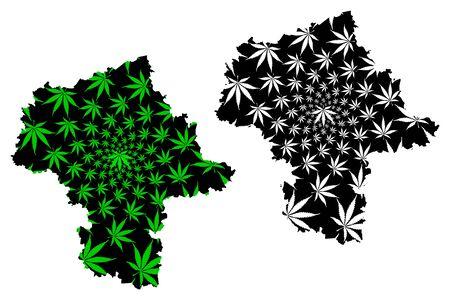 Masovian Voivodeship (Administrative divisions of Poland, Voivodeships of Poland) map is designed cannabis leaf green and black, Mazovia Province map made of marijuana (marihuana,THC) foliage Иллюстрация