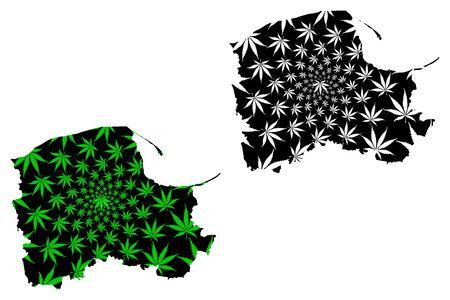 Pomeranian Voivodeship (Voivodeships of Poland) map is designed cannabis leaf green and black, Pomerania Province (Pomorskie Region) map made of marijuana (marihuana,THC) foliage