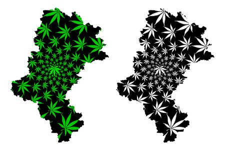 Silesian Voivodeship (Administrative divisions of Poland, Voivodeships of Poland) map is designed cannabis leaf green and black, Silesia Province map made of marijuana (marihuana,THC) foliage