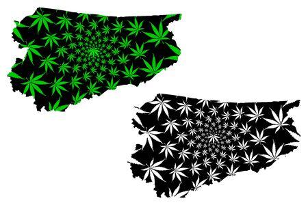 Warmian-Masurian Voivodeship (Voivodeships of Poland) map is designed cannabis leaf green and black, Warmia-Masuria Province (Warmia-Mazury Province) map made of marijuana (marihuana,THC) foliage