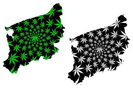 West Pomeranian Voivodeship (Administrative divisions, Voivodeships of Poland) map is designed cannabis leaf green and black, West Pomerania Province map made of marijuana (marihuana,THC) foliage
