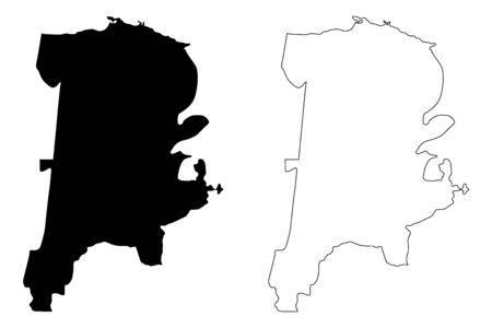 Barceloneta Municipal (Commonwealth of Puerto Rico, Porto Rico, PR, Unincorporated territories of the United States) map vector illustration, scribble sketch Barceloneta map