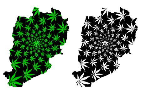 Beni Mellal-Khenifra Region (Kingdom of Morocco, Regions of Morocco) map is designed cannabis leaf green and black, Beni Mellal Khenifra map made of marijuana (marihuana,THC) foliage