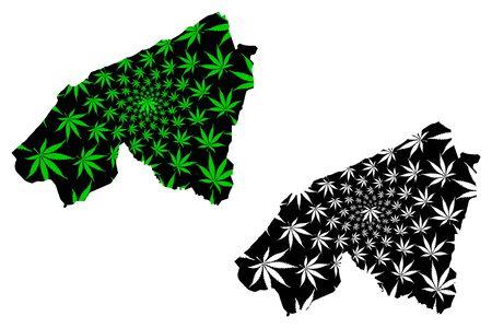 Casablanca-Settat Region (Kingdom of Morocco, Regions of Morocco) map is designed cannabis leaf green and black, Casablanca Settat map made of marijuana (marihuana,THC) foliage