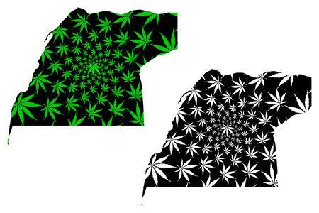 Dakhla Oued Ed Dahab Region (Kingdom of Morocco, Regions) map is designed cannabis leaf green and black, scribble sketch Oued Ed-Dahab-Lagouira map made of marijuana (marihuana,THC) foliage Иллюстрация