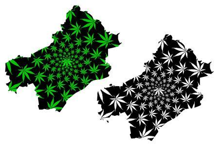 Draa-Tafilalet Region (Kingdom of Morocco, Regions of Morocco) map is designed cannabis leaf green and black, Draa Tafilalet map made of marijuana (marihuana,THC) foliage Иллюстрация