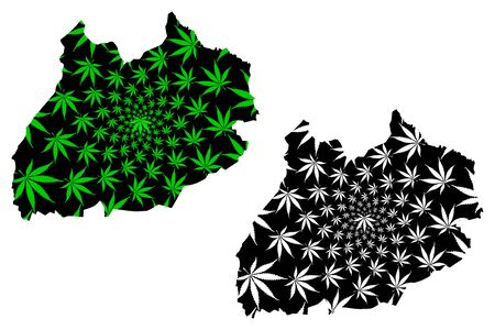 Marrakesh-Safi Region (Kingdom of Morocco, Regions of Morocco) map is designed cannabis leaf green and black, Marrakesh Safi map made of marijuana (marihuana,THC) foliage