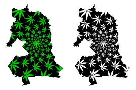 Oriental Region (Administrative divisions of Morocco, Kingdom of Morocco, Regions of Morocco) map is designed cannabis leaf green and black, Tagmudant map made of marijuana (marihuana,THC) foliage Иллюстрация